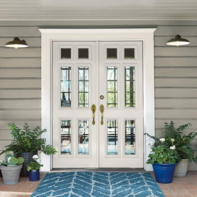 Exterior door painted in a pastel-white color