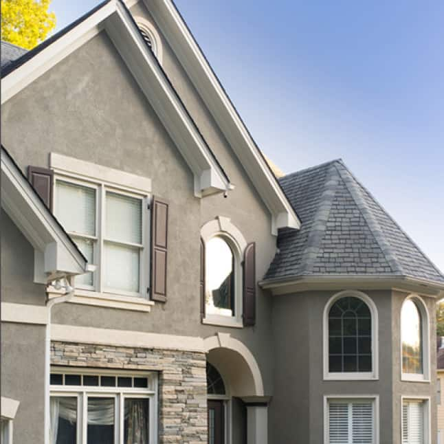Stucco house painted gray