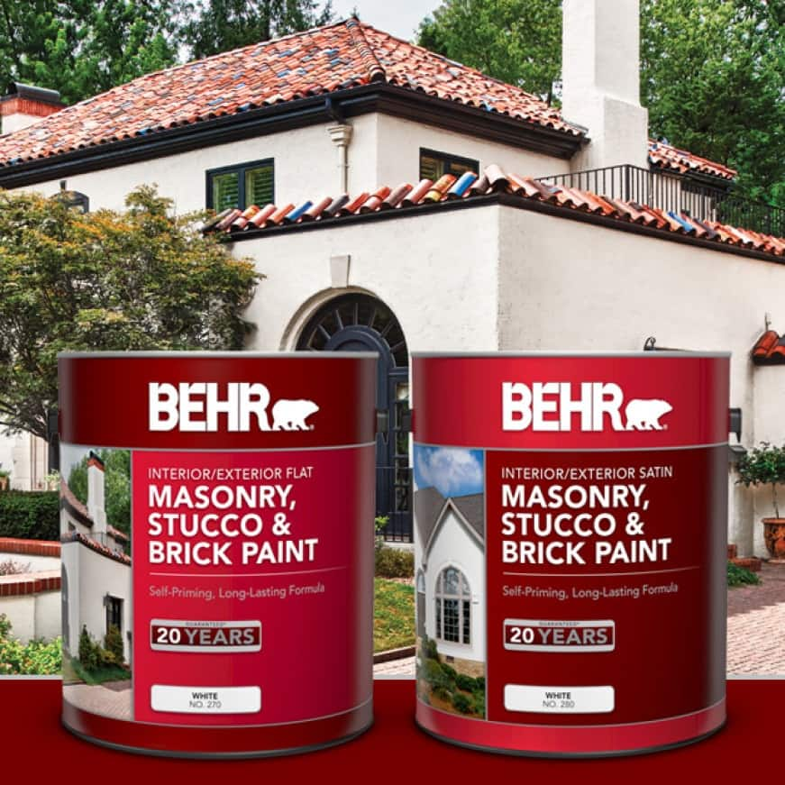 BEHR Masonry, Stucco and Brick Shown in Flat and Satin
