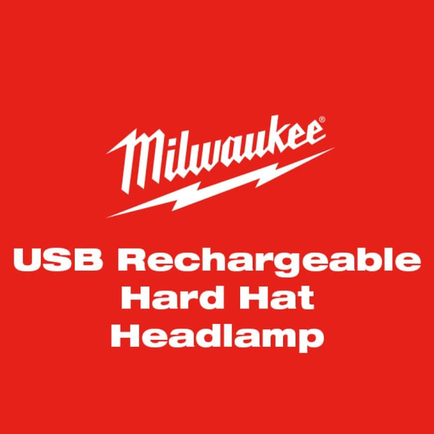 USB Rechargeable Hard Hat Headlamp features 475 lumens, multple beam batterns, and securely attaches to a hard hat