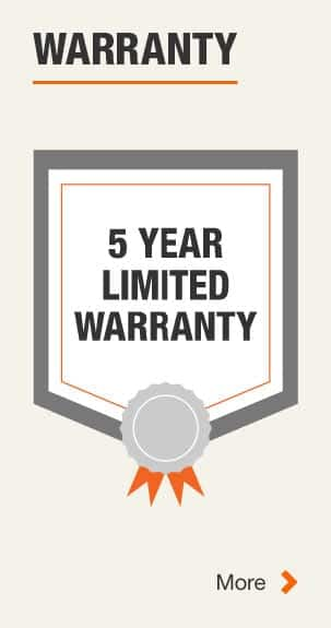 5 Year Manufacturer Warranty. Click for more Information.