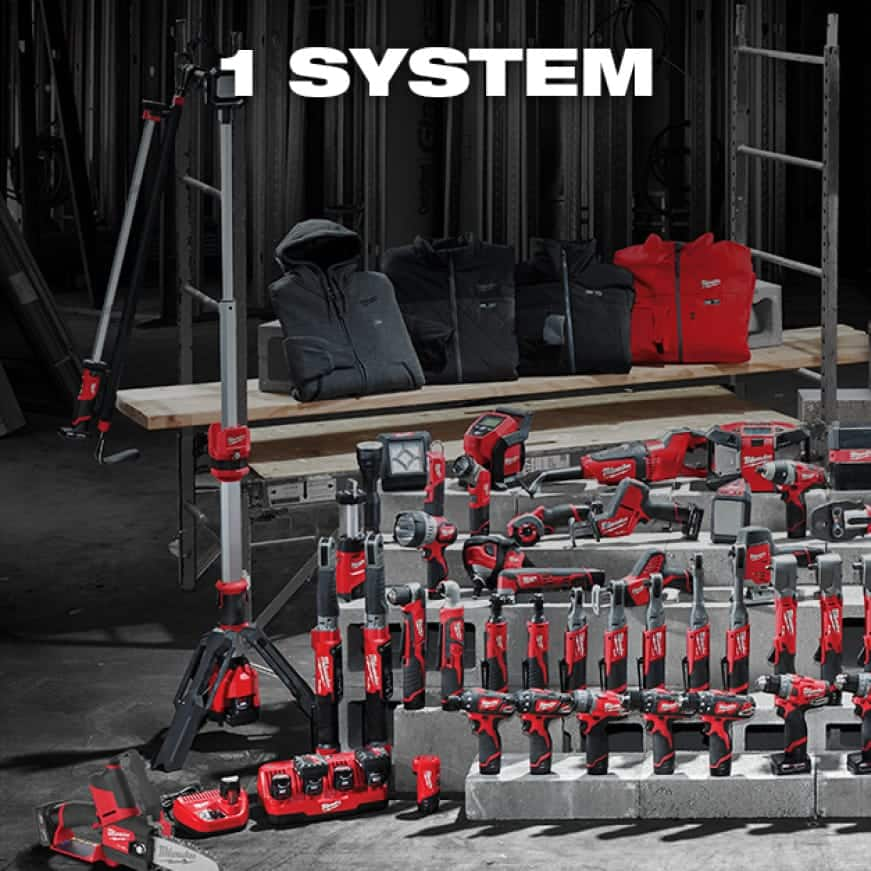 A wide selection of M12 cordless tools and heated gear lined up