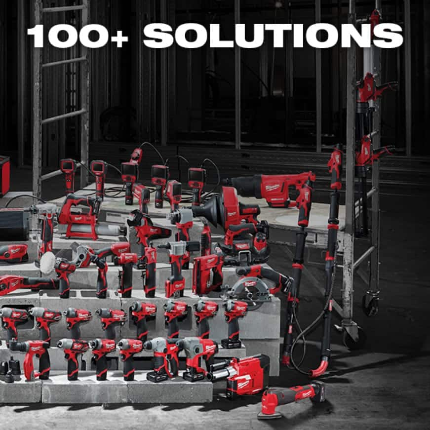 A wide selection of M12 cordless tools and solutions lined up