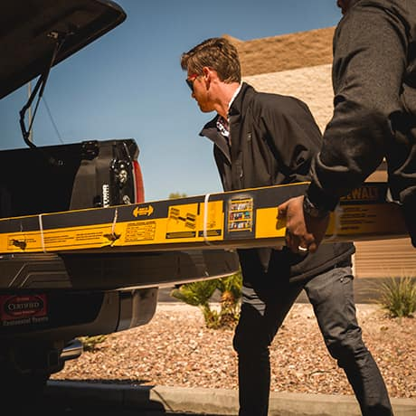 The rack is easily transported in an SUV or pickup using a two-person lift team.