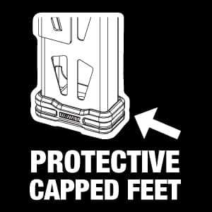 Rugged glass-filled nylon feet prevent scratched flooring.