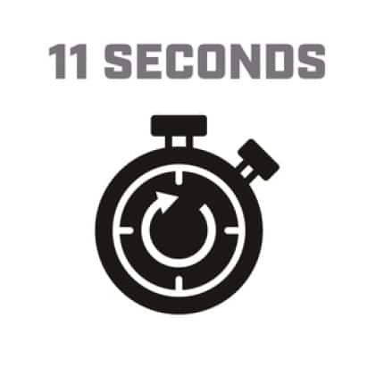 Icon image of stopwatch showing 11-second cycle time