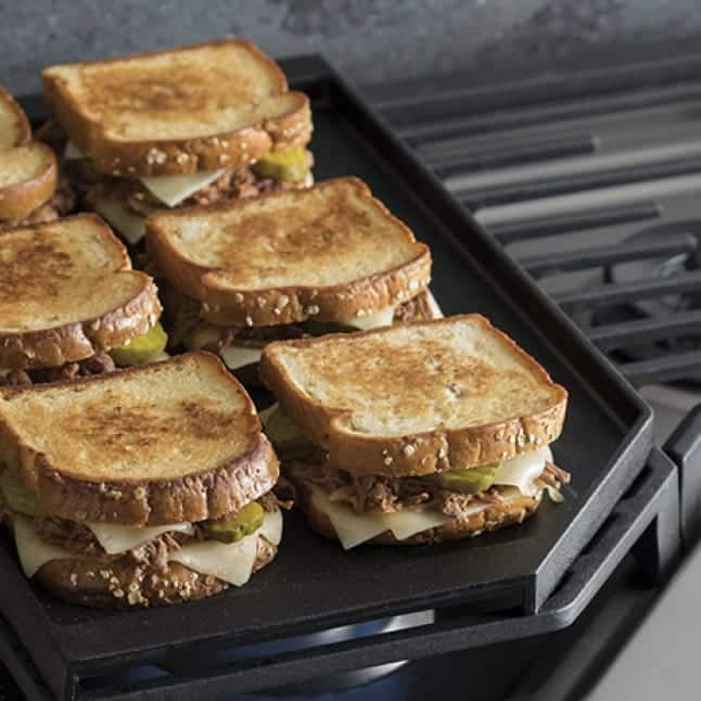 Sandwiches are toasted on the griddle