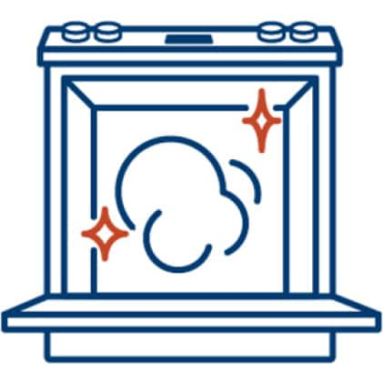 An icon of a grilled porkchop. A small icon of a flame in the corner signifies the high temperature of the oven's broil mode.