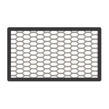 An icon showing the grill of the vent's replaceable air filter.