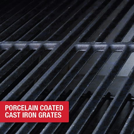 Porcelain coated cast-iron grates on both sides prevent foods from sticking, and are easily cleaned.