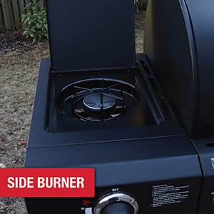 Side burner offers 12,000 BTUs of additional cooking power.