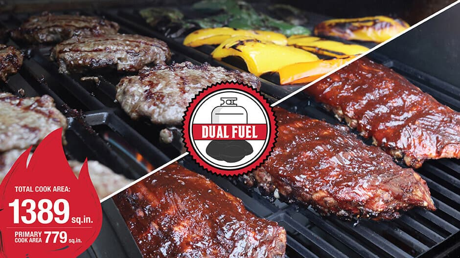 Choose between charcoal, propane gas grilling, or classic style smoking with the versatile Texas Trio.