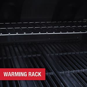 Warming rack provides additional cooking area for slower grilling, cooking, and steaming.