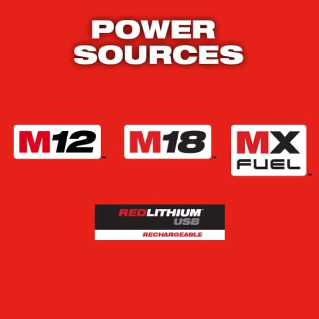 Milwaukee M12, M18, MX FUEL, and REDLITHIUM USB logos on red background