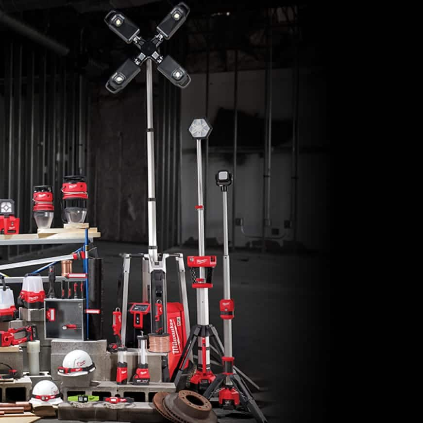 The rest of Milwaukee's site lighting products lined up with a black background