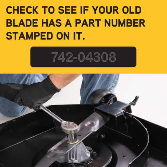 Correct mower blade part needed to change a mower blade