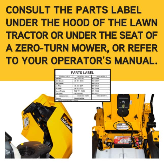 lawn mower parts, labels and operator's manuals