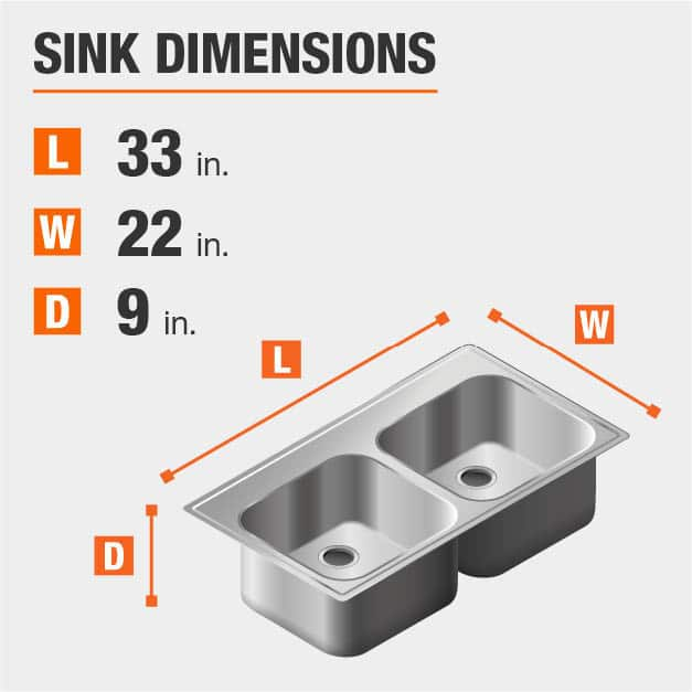 Sink Dimensions Width=22 inches Length=33 inches Depth=9 inches