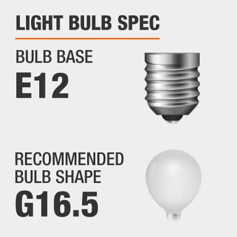 This chandelier requires a E12 bulb base, and a G16.5-shaped light bulb is recommended.
