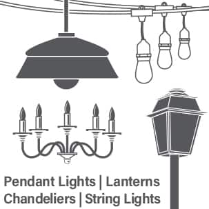 Feit Electric chandelier lantern pendant fixtures E26 Vintage LED Edison bulbs icon
