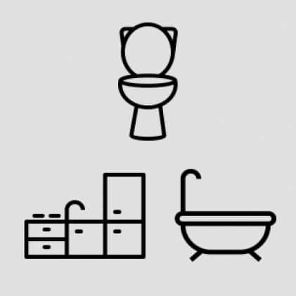 """1""""-4"""" Toilets, kitchen and bathroom sinks, bathtubs and showers"""
