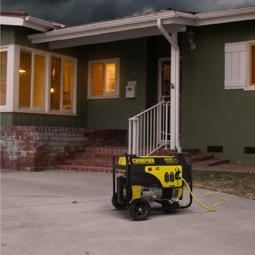 Lifestyle image of generator powering a home during a storm