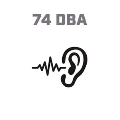 Icon image of soundwaves entering ear, showing 74 DBA