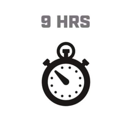Icon image of clock showing 9 hour run time