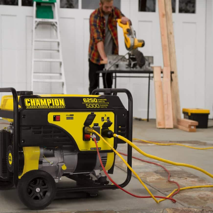 Lifestyle image of generator powering power tools