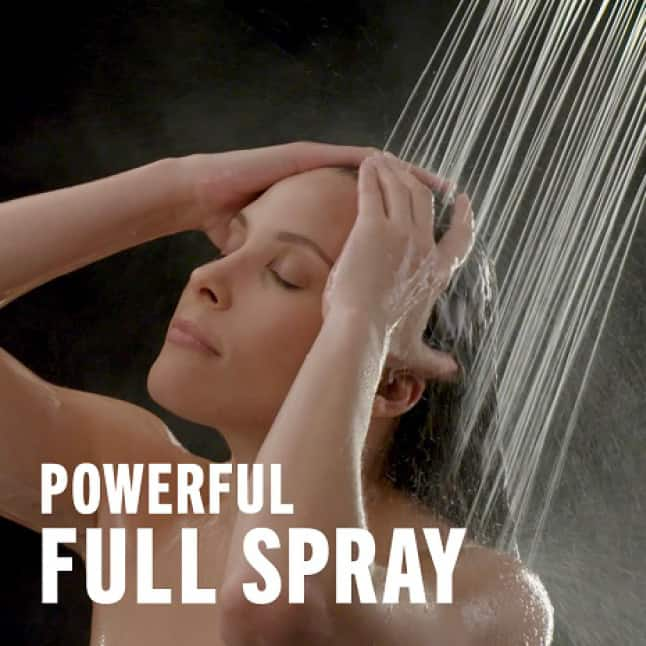 """Image is of a female model (shoulders-up) rinsing her hair with overlaid copy """"Powerful Full Spray"""""""