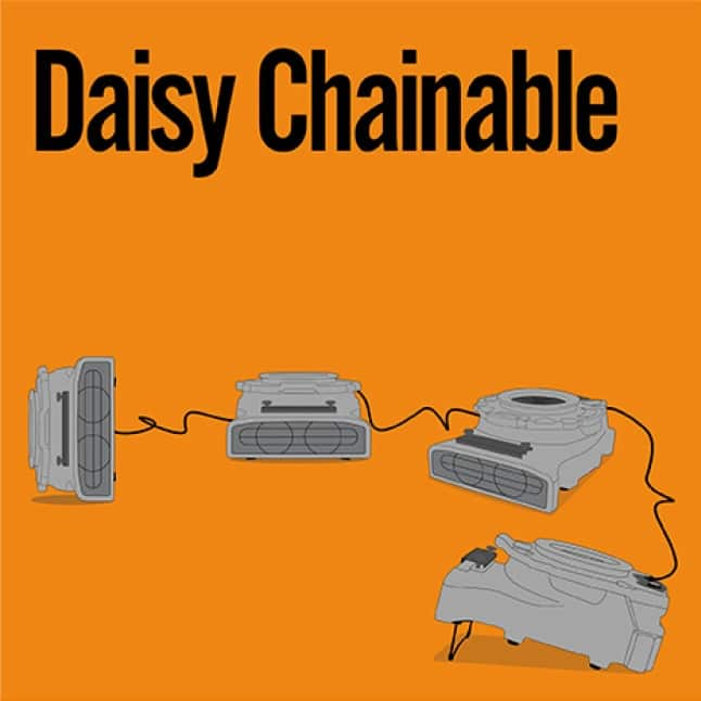 Use the GFCI port to safely daisy chain B-Air® water damage restoration equipment for maximum performance on the job.