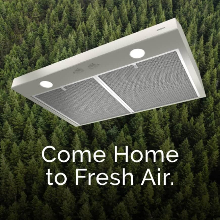 Image of a Stainless Steel Glacier Range Hood with evergreen trees behind it. Words over the top say: Come home to Fresh Air.
