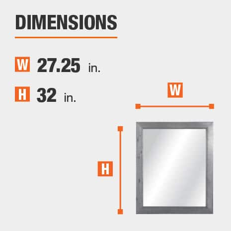 The dimensions of this bathroom vanity mirror are 27.25 in. W x 32 in. H