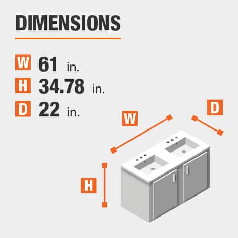 The dimensions of this bathroom vanity are 61.00 in. W x 34.78 in. H x 22.00 in. D
