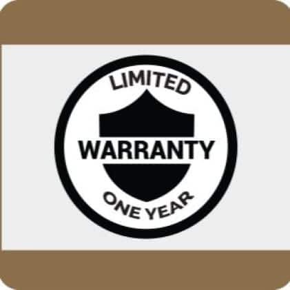 A graphich showing the availability of limited one-year warranty
