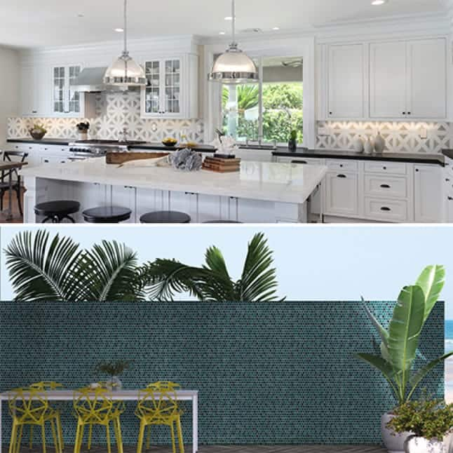 Lifestyle images showing the mosaics installed in indoor and outdoor settings.