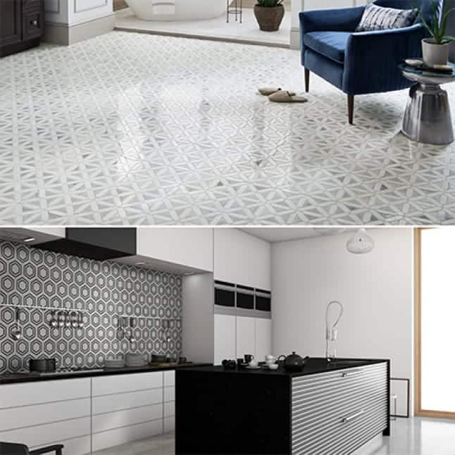 Lifestyle images showing the mosaics installed on both, floor and wall applications.