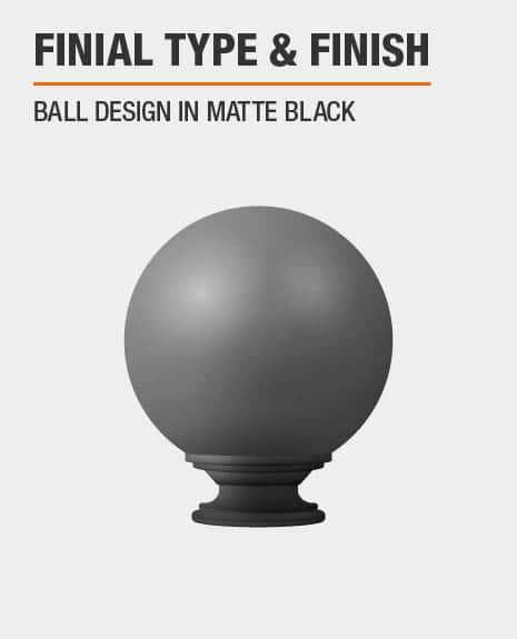 Matte Black Ball Curtain Rod Finial