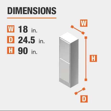 Cabinet dimensions are 90 in W x 18 in. H