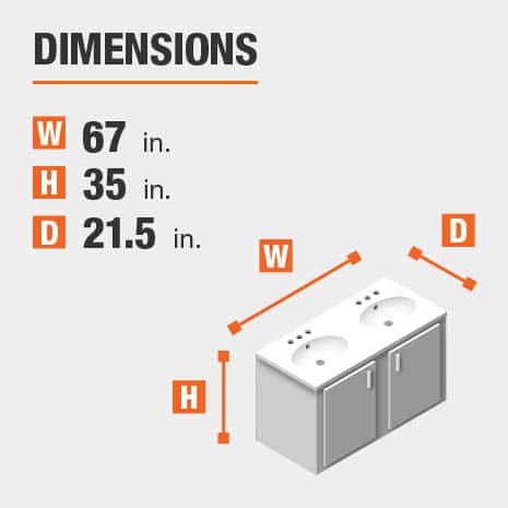 The dimensions of this bathroom vanity are 67.00 in. W x 35.00 in. H x 21.50 in. D