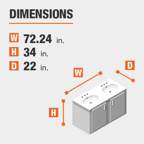 The dimensions of this bathroom vanity are 72.24 in. W x 34.00 in. H x 22.00 in. D