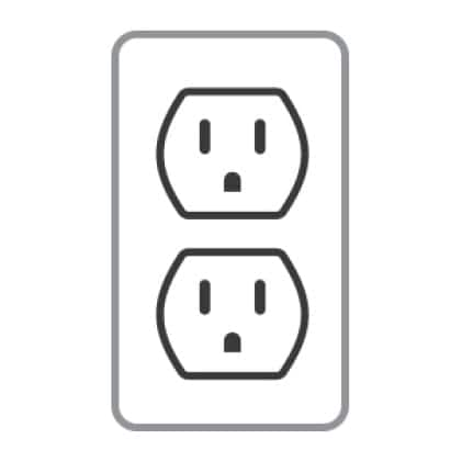 An icon of a 3-prong outlet