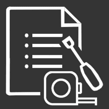 Icon of instructions, measuring tape and screwdriver