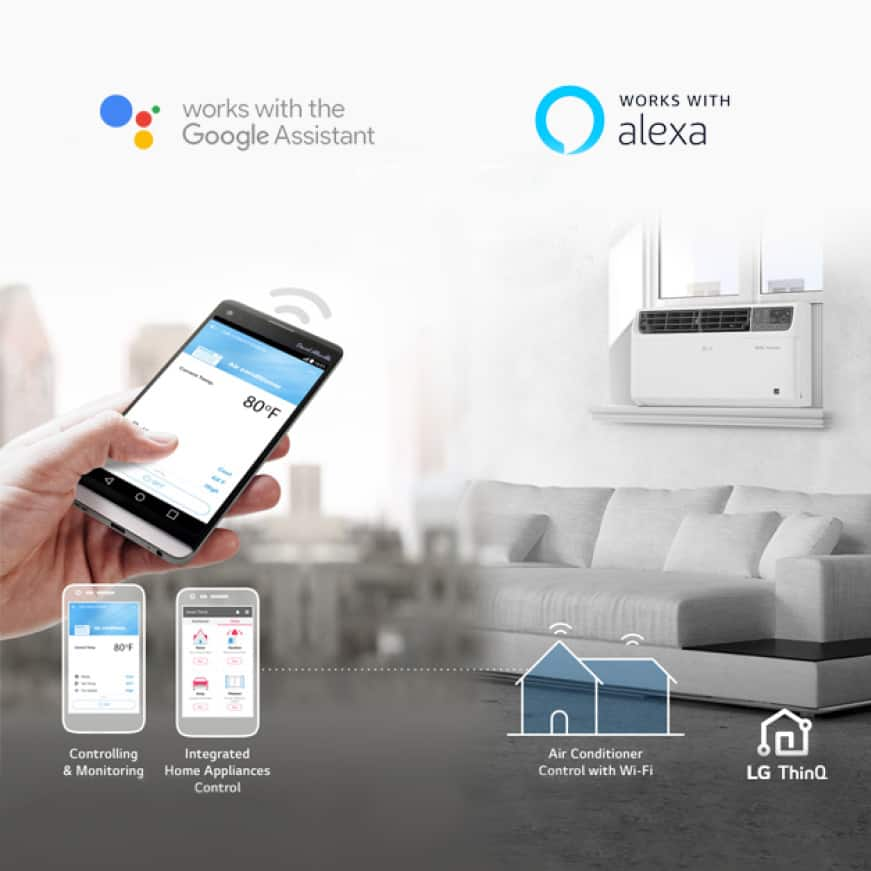Image of a room with a DUAL inverter air conditioner, woman's hand holding smartphone using LG ThinQ app, Google Assistant and Alexa logos