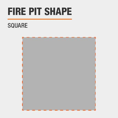 This patio fire pit is square shaped.