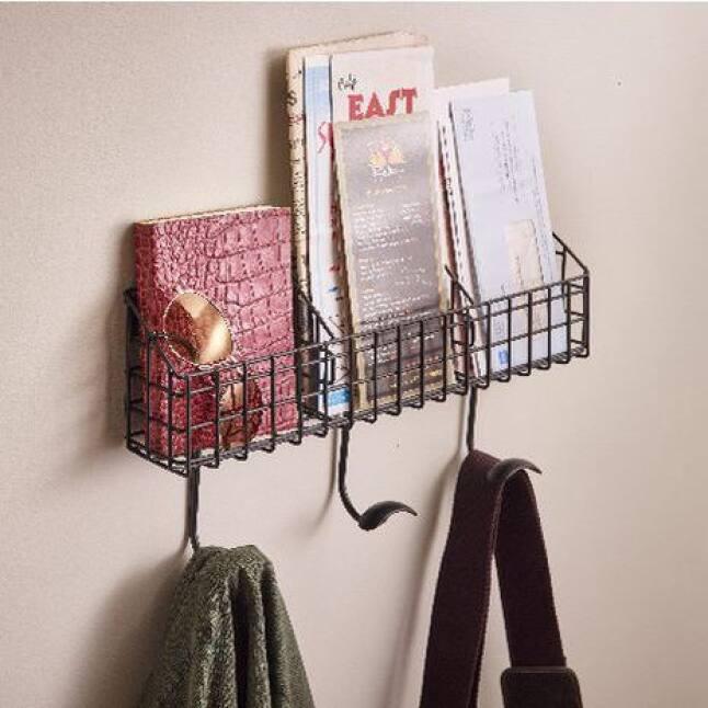 Hook Rack with Additional Basket Storage, Coat Hanger, Purse Hanger