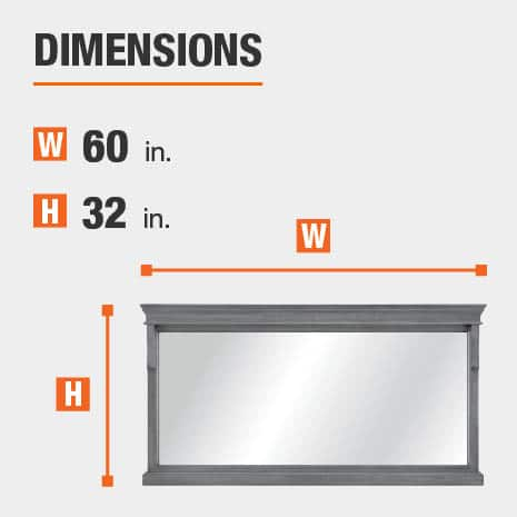 The dimensions of this bathroom vanity mirror are 60 in. W x 32 in. H