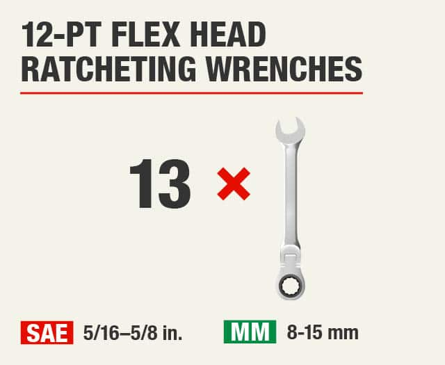 12-Pt Flex Head Ratcheting Wrenches