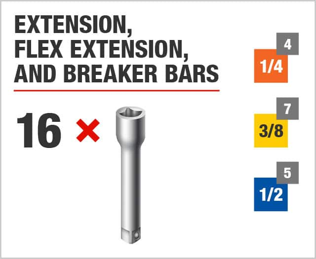 Extension, Flex Extension, Breaker, Speeder Breaker, and Impact Bars