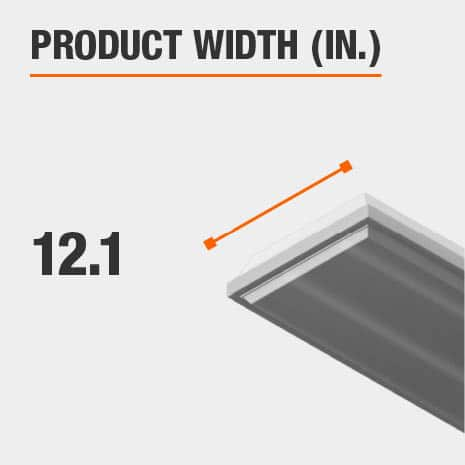 This light fixture has a width of 12.1 inches.